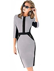 Women's Vintage Blue/Gray/Red Bodycom ½ Length Sleeve Pencil Dress
