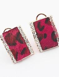Women's Elegant Leopard Pattern Rhinestone Square Arc Shape Stud Earrings