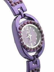 reloj de pulsera banda de aleación de esfera redonda de las mujeres