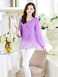 Women's Print Pink/Yellow/Purple Blouse , Round Neck Long Sleeve Hollow Out