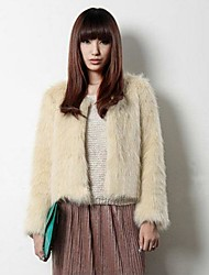 Jacket Faux Fur Fashion Long-Sleeved Collarless Jacket(More Colors)