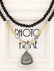 European Style Fashion Rhinestone Triangle Black Opal Beads Long Necklace