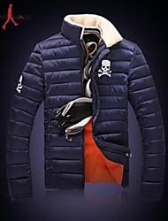 MANWAN WALK®Men's Casual Thick Down Jacket with Skull Print.Stand Collar with Fleece Warm Coat.