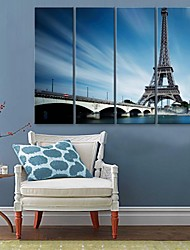 E-HOME® Stretched Canvas Art Iron Tower Decorative Painting  Set of 4