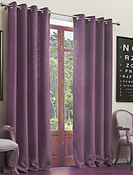 Neoclassical Two Panels Solid  Living Room Poly Cotton Blend Purple Curtains Drapes