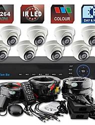yanse® 8ch d1 dvr kit ir kleuren dome camera beveiligingscamera's systeem cctv 703cc08