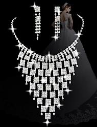 moda malha com diamantes conjuntos femininos declaração: colar e brincos (venda julgamento; ações: 1)