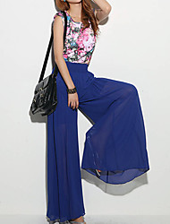Women's Blue/Pink Loose Pants , Casual