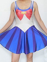 azul impresa cosplay sailor moon traje de halloween