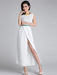 Women's Party/Cocktail Sexy A Line Dress,Solid Round Neck Maxi Sleeveless White Spring / Summer / Winter