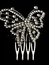 Fashion  Silver Plated Crystal Butterfly Bridal Tiara Hair  Comb