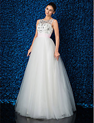 Formal Evening Dress - Ivory Ball Gown Jewel Floor-length Lace/Tulle