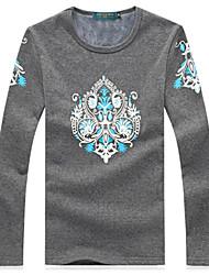 Gray Cotton Pattern T-Shirt