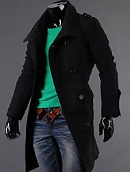 ZIMO Men's Autumn and Winter Badges in Long Double Breasted Coat Jacket.