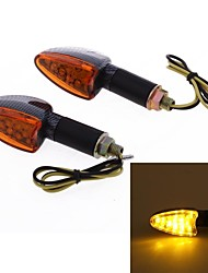 2 Pcs Motorcycle Yellow 15 LED Turn Signal Light Bulb Blinker Lens DC12V 10mm