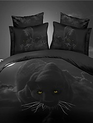 Duvet Cover Set,Hot Selling 3D Bedding Sets Reversible Duvet Cover Bed Sheet Set Bed in a Bag with  HD Leopard Pattern
