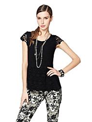 Women's Black T-shirt/Blouse/Shirt , Casual/Lace/Party/Work/Plus Sizes Short Sleeve