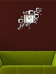 """22 """"h style moderne argent / carrés noirs 3d bricolage miroir acrylique horloge murale"""