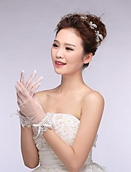 Ivory Tulle Fingertips Wrist Length Wedding Gloves with Lace with Shiny Crystal ASG14