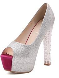 scarpe da donna peep toe pompe tacco grosso gliter scarpe