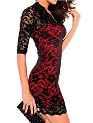 lace sexy v-pescoço vestido de manga 3/4 magro de Samantha mulheres