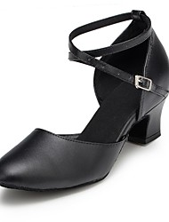 Women's Dance Shoes Modern Leather Low Heel Black