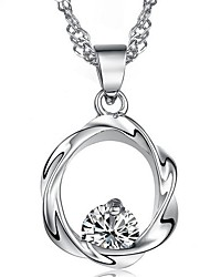 925 Silver Plum Flower Pendant Chain Necklace With Cubic Zirconia