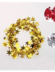 10m Long Star Cord Christmas Decorating Wreath (Golden Red Sliver)
