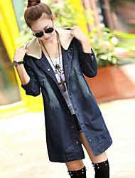 couverture cappotto incappucciato denim midi outwear femminile