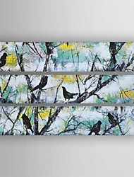 Oil Painting Modern Abstract Birds in the Tree Set of 3 Hand Painted Canvas with Stretched Framed
