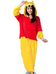 Kigurumi Pyjamas Bär / Waschbär Gymnastikanzug/Einteiler Fest/Feiertage Tiernachtwäsche Halloween Rot / Gelb Patchwork Flanell Kigurumi