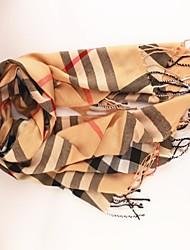 Women's Classic British Style Tassel Voile Scarf Brown