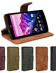 Pour Coque LG Porte Carte Portefeuille Avec Support Clapet Coque Coque Intégrale Coque Couleur Pleine Dur Cuir PU pour LG LG Nexus 5