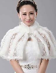 Fur Wraps Luxurious Soft Lace Faux Fur Wedding Cape Wrap Bolero Ivory Bolero Shrug