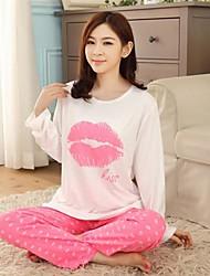 lábios de seda leite das mulheres manga longa domésticos confortável para tomar trajes casual wear