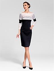 robe de cocktail de retour - gaine / colonne noire bateau genou polyester