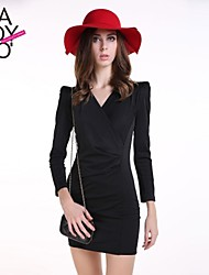 haoduoyi® Women's Knitted Elasticity Slim Fitted Cross Deep V Neck Small Shoulder Pads Long Sleeve Dress