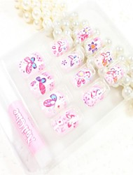 12 Pcs  Color Butterfly  Design Nail Art Tips With Glue