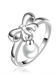 womens présente dame façon simple noeud papillon pendentif perle bague en argent 925