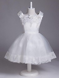 Princess Straps Knee-length Organza Flower Girl Dress