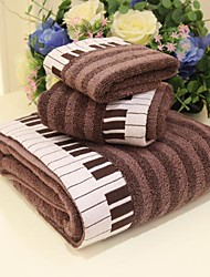 SenSleep® 3pcs Jacquard Towel Set, Piano Pattern, Brown or Gray 100% Cotton, Bath Towel Wash Towel & Hand Towel
