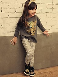 Girl Child Autumn Spring Child Set Baby Girl`s Leopard Head Long-sleeved Tshirt + Leopard Print Leggings