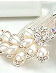 peafowl frizzante lussureggiante con grandi perle e strass pettini