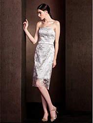 Knee-length Lace Bridesmaid Dress-Plus Size / Petite Sheath/Column Strapless