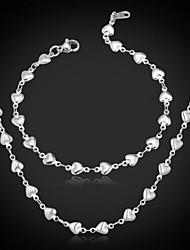U7® Women's 316L Titanium Steel Hearts Link Chain Necklace Bracelet Set 55CM