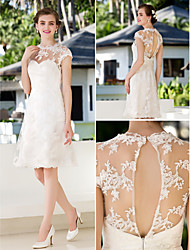 Lan Ting A-line/Princess Plus Sizes Wedding Dress - Ivory Knee-length Jewel Lace