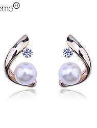 Stud Earrings Pearl Crystal Alloy Gold Silver Jewelry Daily