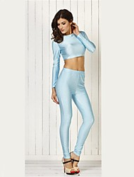 New Fashion Long Sleeve Blue Two-Pieces Sexy Bodycon Bandage Jumpsuit KM003