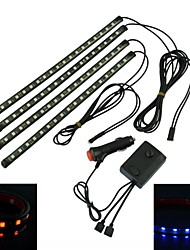 impermeable 36w 5050 de chips 4 * 18LED atmósfera coche luces con el mando a distancia (dc12v)