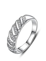 Women's Classic Platinum Slant Diamanted Copper Statement Rings(1 Pc)